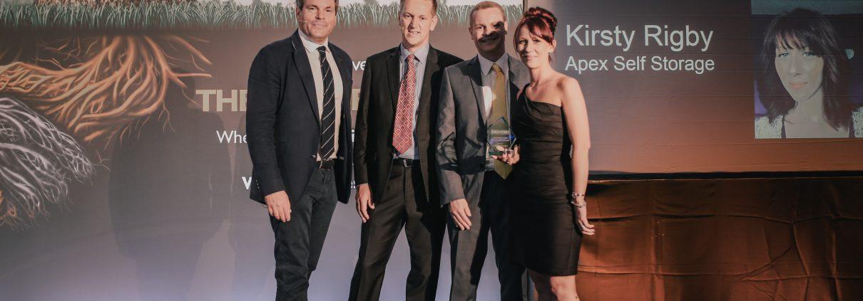 Kirsty Rigby Apex Self Storage accepting award
