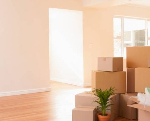 new home with unpacked boxes