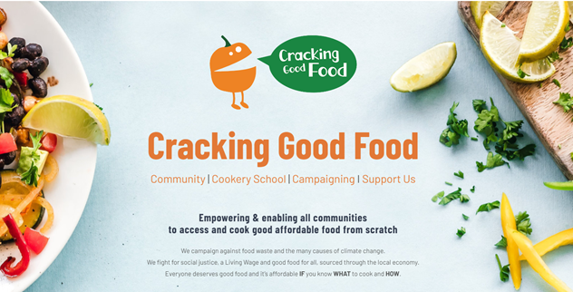 A logo and short description of what Cracking Good Food do in Greater Manchester