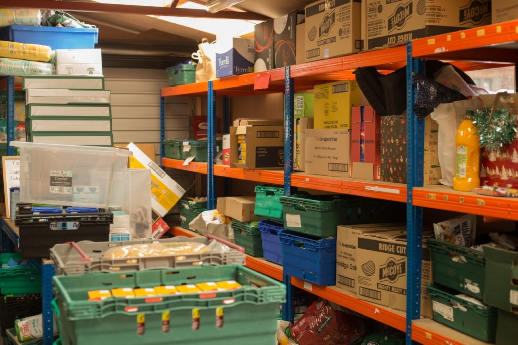 Manchester central food bank stock room