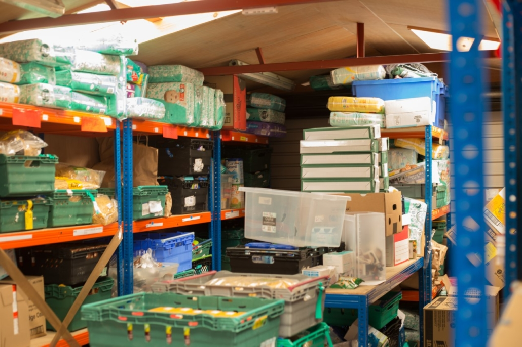 Manchester Central local Food banks stock room